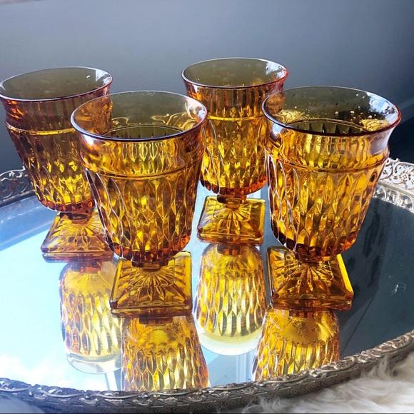 Amber Pedestal Drinking Glass Set Boho Kitchen